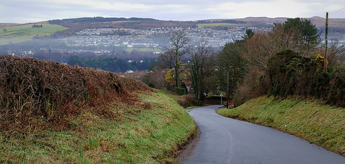 bonhill westdunbartonshire valeofleven scotland houses hills road trees forest fields hedge hedgerow lonely cold chilly mist fog landscape outdoor scenery view journey therenton