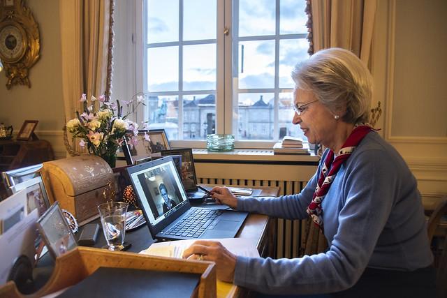 Douairière Vorstin Benedikte van Sayn-Wittgenstein-Berleburg, Prinses van Denemarken, heeft digitale ontmoeting met de Gezamenlijke Raad van Padvindsters