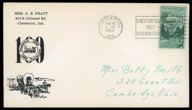 Chesterton, Indiana, Centennial, August 22, 1952 - Postal Cover
