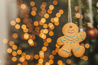 Gingerbread man on new year bokeh background | by wuestenigel