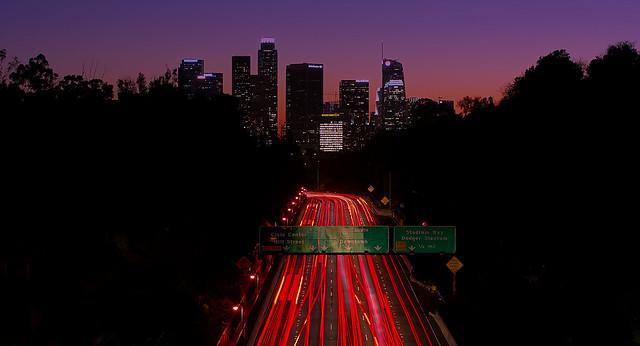 Los Angeles Skyline 110 overpass