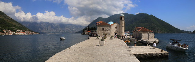 Little island 'Our lady of the Rocks'  situated in the middle of Bay of Kotor