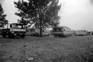 Travellers site,  Eastway, Stratford, Newham, 1983  36o-12_2400