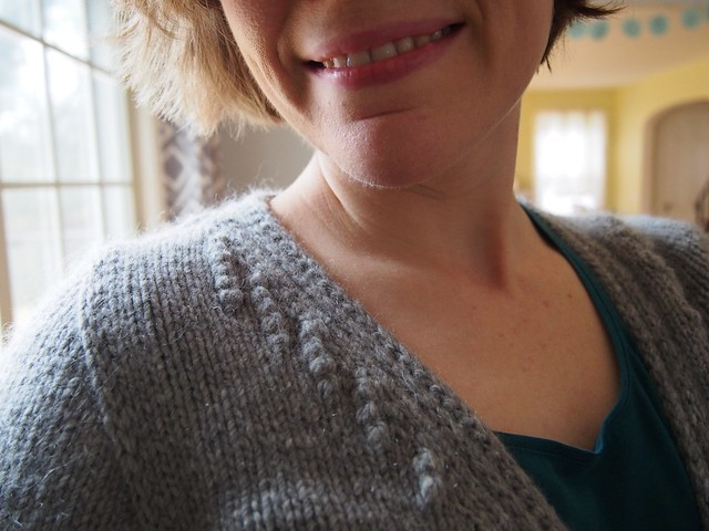 Closeup of nupp details at neckline