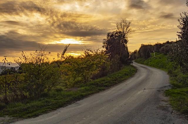 Tuscan sunset in autumn