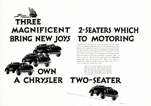 """""""The magnificent two-seaters ..."""", press advert, by Ashley Havinden, issued by Chrysler UK, 1927/8"""