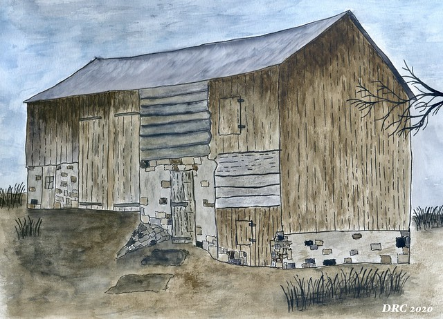 Watercolor - Log Barn on the Dryville Road