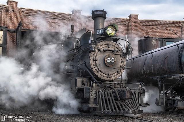 Rio Grande Southern 20 at the Colorado Railroad Museum. October 24th Trick or Treat Train.