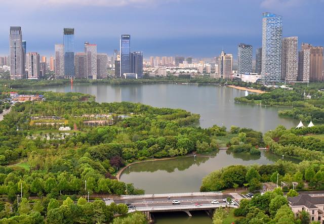 Swan lake and new Hefei city skyline