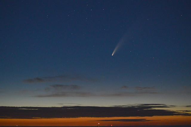 Comet Neowise above the IJsselmeer at Andijk, Netherlands.