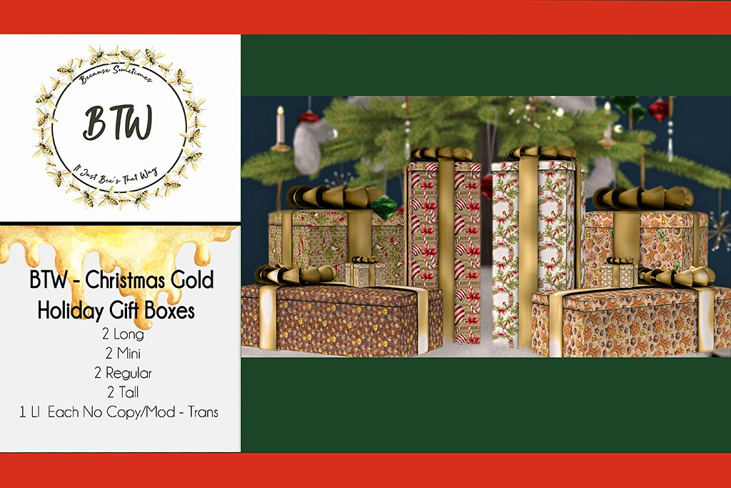 BTW – Christmas Gold Holiday Gift Boxes