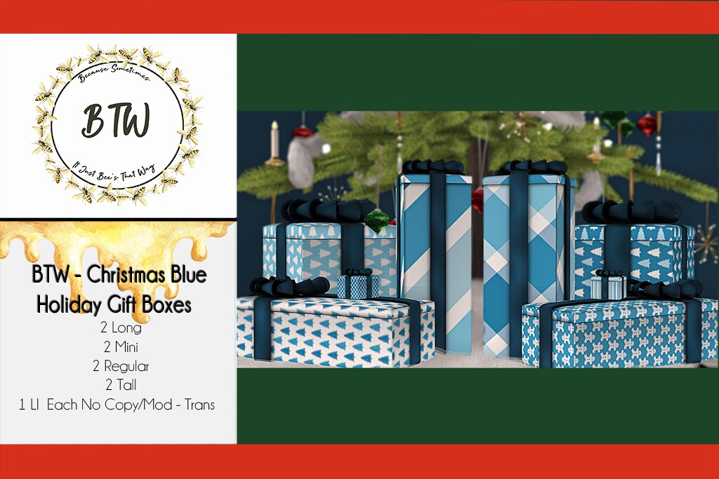 BTW – Christmas Blue Holiday Gift Boxes
