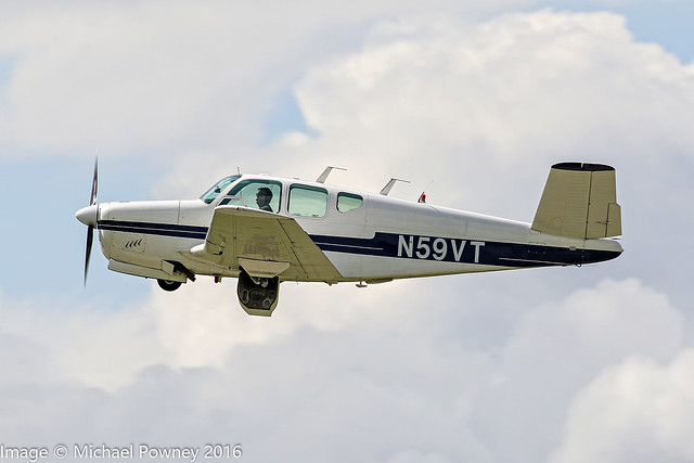 N59VT - 1959 build Beech K35 Bonanza, departing from Sywell during AeroExpo 2016