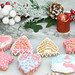 Colorful Christmas Cookies with Christmas decoration branches