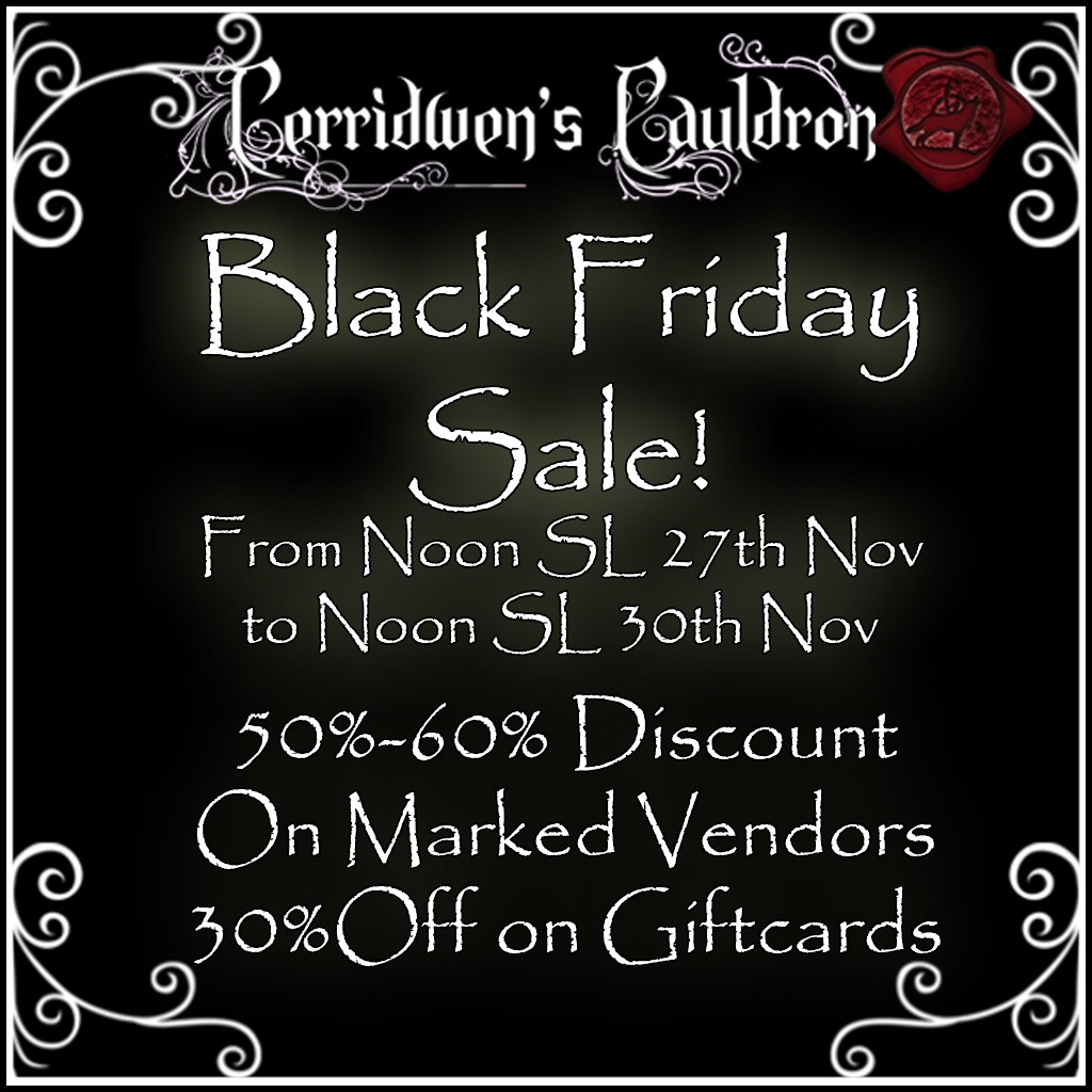 ONE MORE DAY FOR THE BLACK FRIDAY SALE AT CERRIDWEN'S CAULDRON!!!