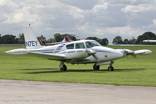 N7EY - 1964 build Piper PA-30-160 Twin Comanche, taxiing at Sywell during Aero Expo 2016