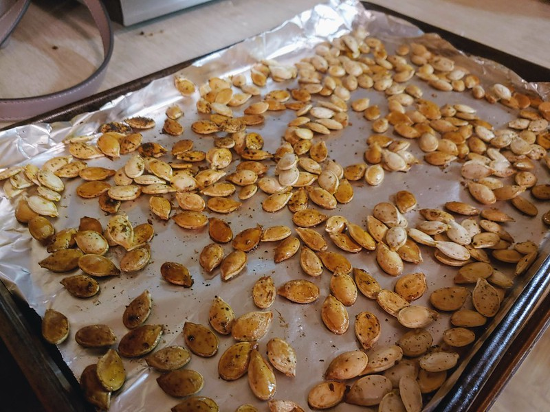 Roasting Blue Hubbard Squash seeds in oil and za'atar