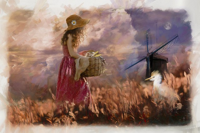The Girl With The Wicker Basket - Art Week Gallery Theme - Romantic Impressionism