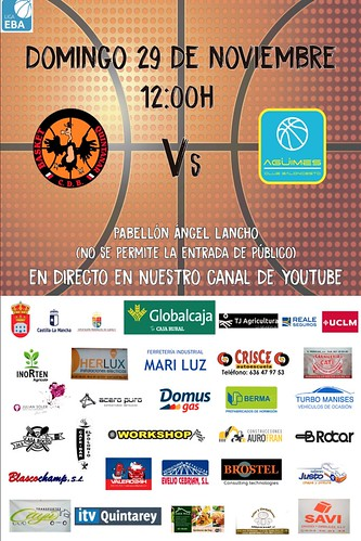 Cartel promocional del encuentro de Liga EBA entre Globalcaja Quintanar y C.B. Agüimes