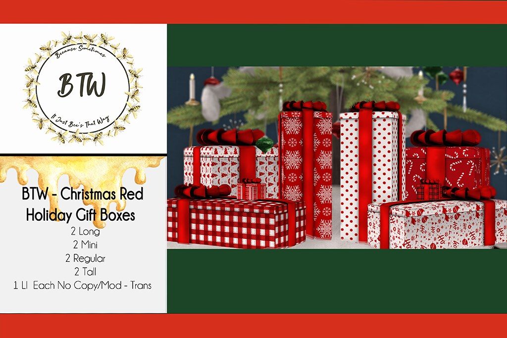 BTW – Christmas Red Holiday Gift Boxes