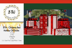 BTW - Christmas Red Holiday Gift Boxes