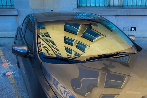car vehicle parked parkingspot parkinglot reflection topw torontophotowalks torontophotowalk smallgroup lowerdowntowneast photowalk photowalks toronto ontario canada