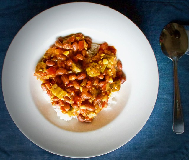 Okra and Black Beans in Tomato Sauce over Rice