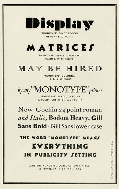 Display matrices : advert issued by Lanston Monotype Corporation, London, 1930