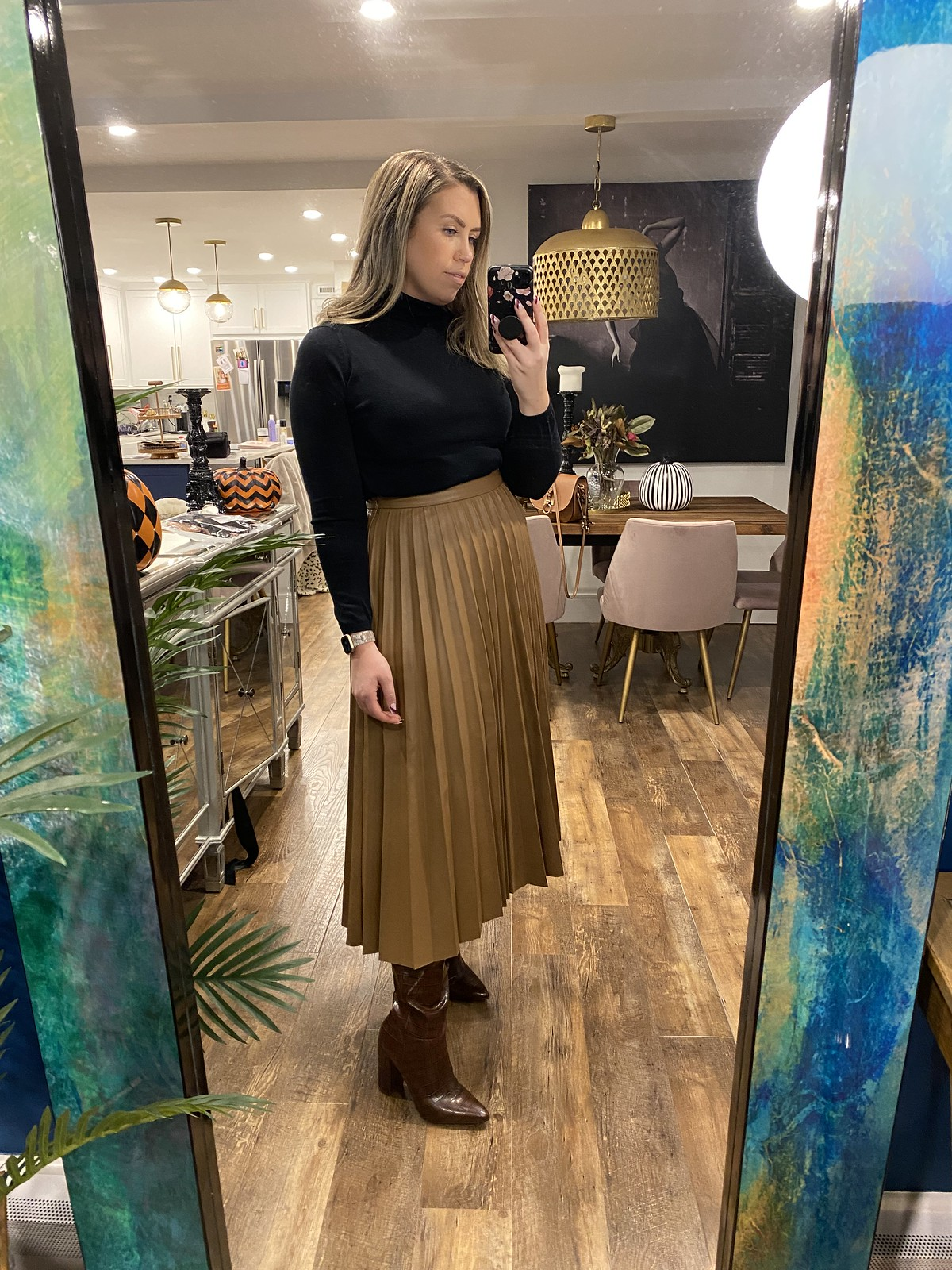 Mango Faux Leather Pleated Skirt