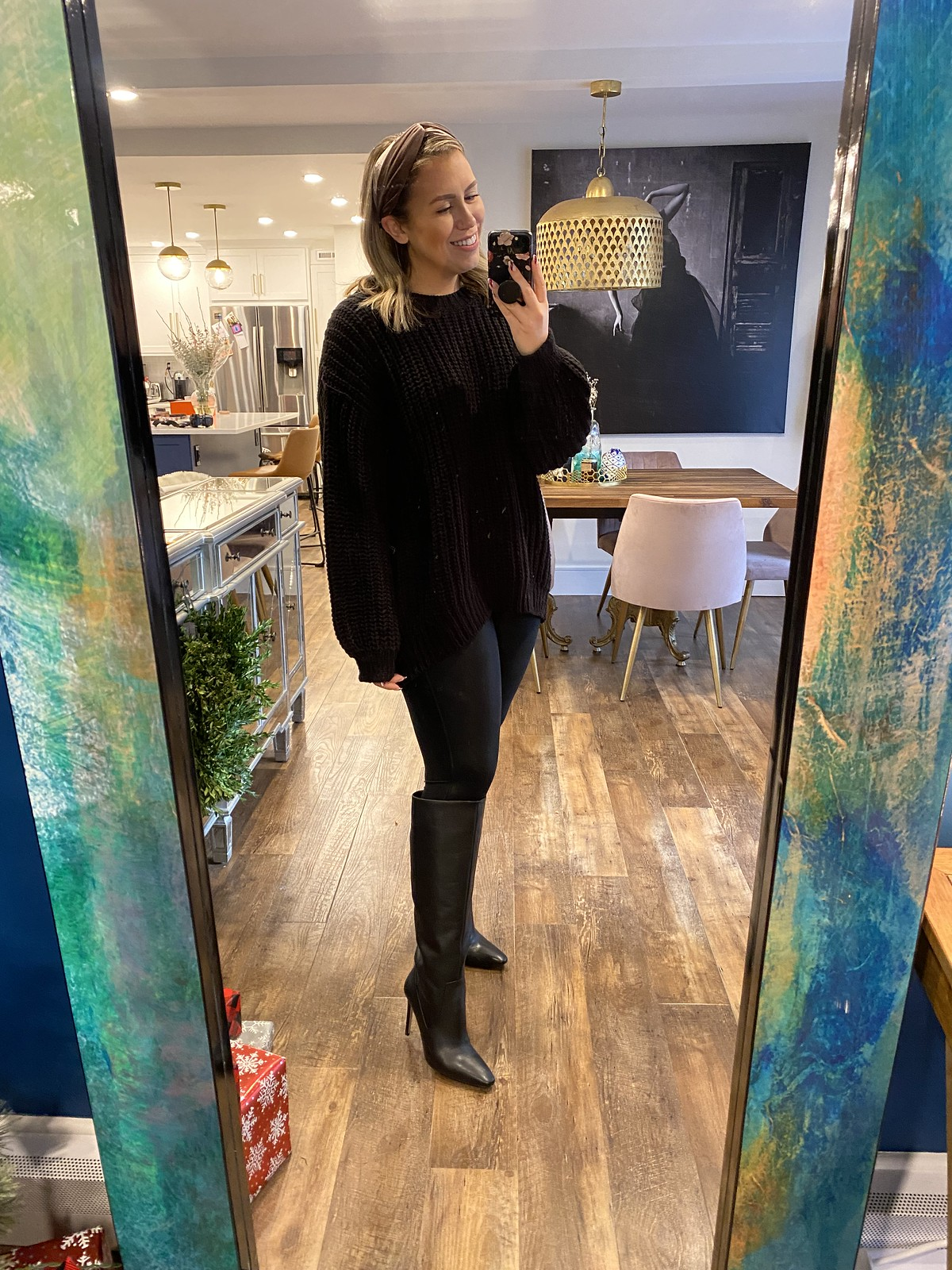H&M Chunky Knit Sweater, Spanx Leather Leggings, Vince Camuto Fendels2 Wide Calf Boot