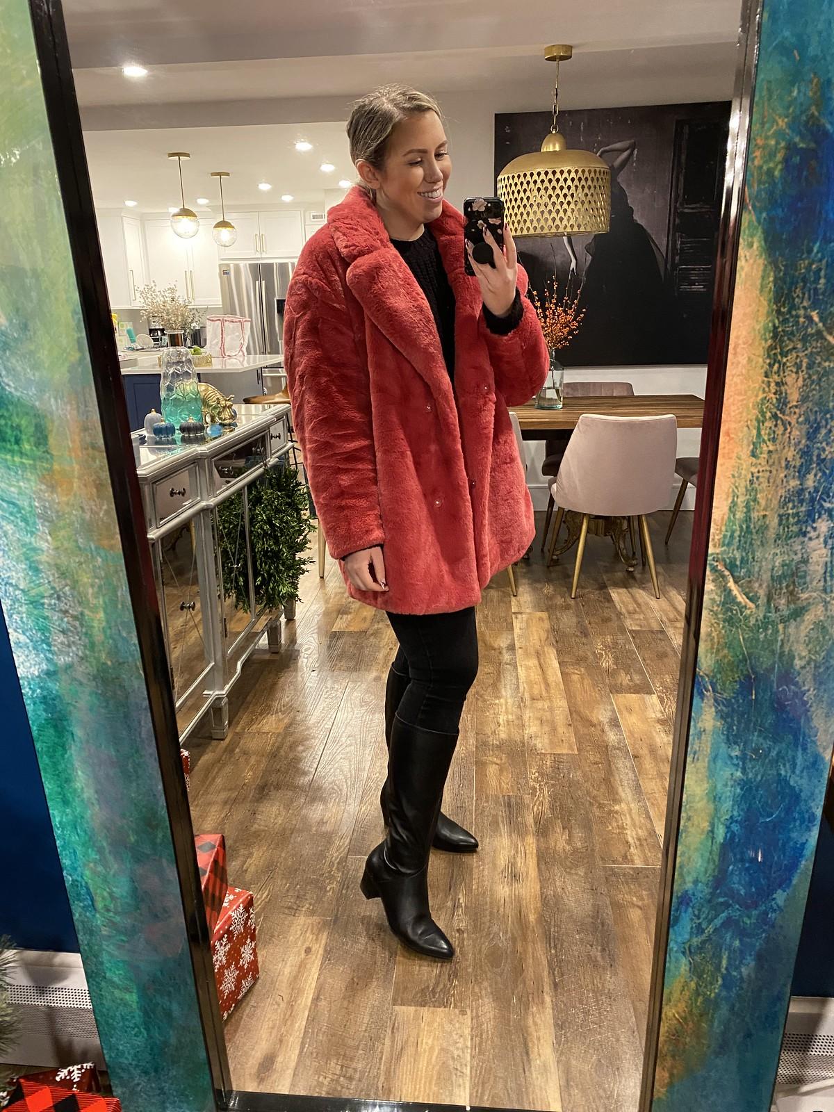 Naturalizer Melanie Wide Calf Boots | Faux Fur Pink Coat