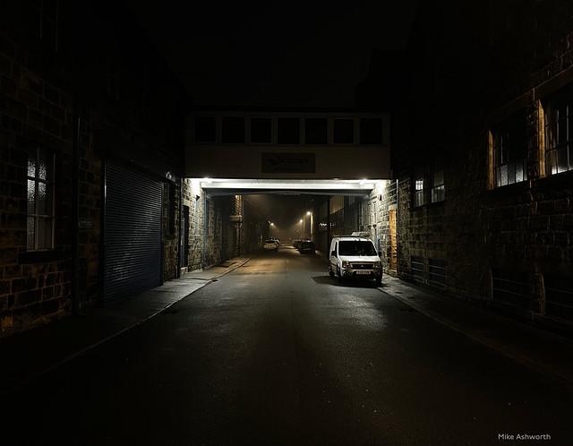 Foggy night - factory street, Otley, West Yorkshire