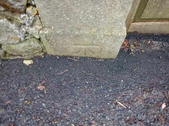 Cut Mark: Downham, Downham Vicarage Gatepost