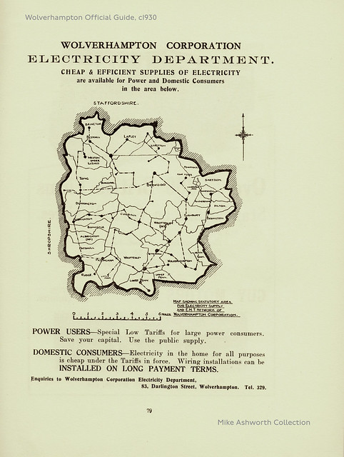 Wolverhampton Corporation Electricity Department, advert showing the area of supply, c1932
