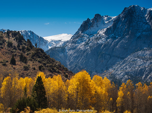 Autumn color s and snowy mountains