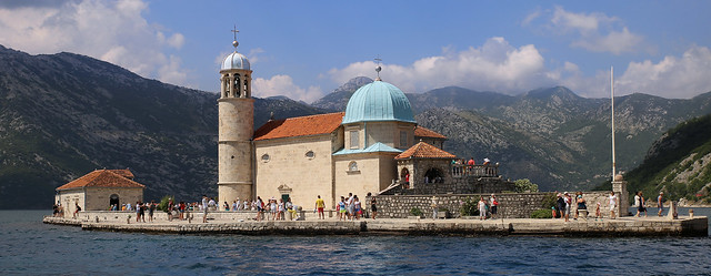 Charming little Catholic Chapel on a little island in the Bay of Kotor