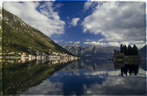 kotor isolation water bay clouds blue green scenery landscape