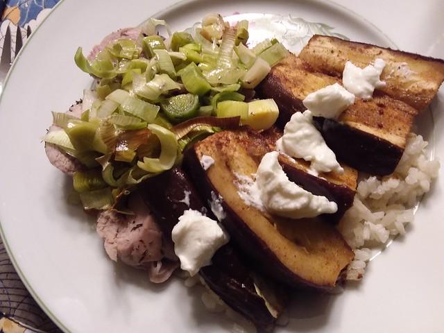 Pork tenderloin with Leeks and Eggplant with Yogurt