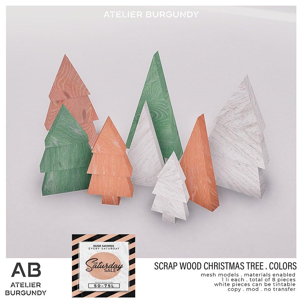 Atelier Burgundy . Scrap Wood Christmas Tree Colors TSS