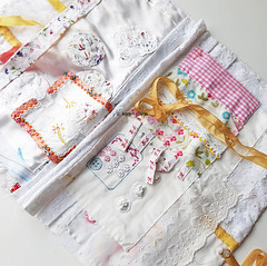 a cloth book for embroidered samples
