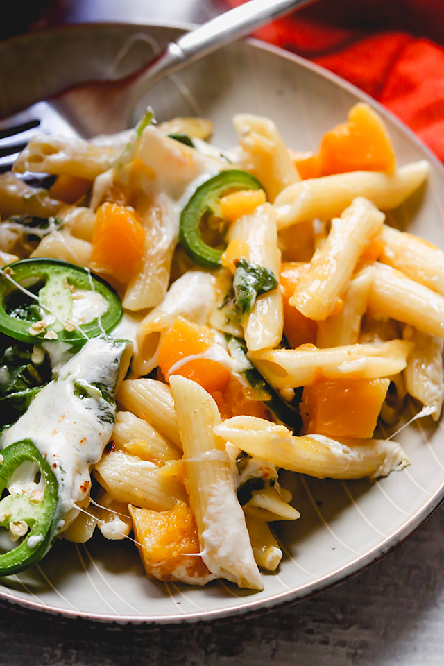 Spicy Jalapeno Butternut Squash Pasta Bake