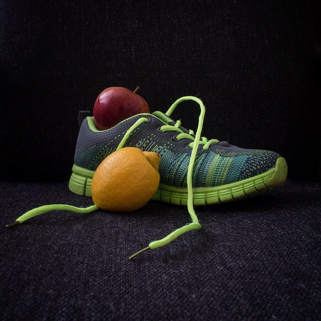 Still life with fruit and shoe