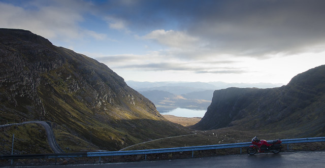 BMW K75s on the Bealach Na Ba overlooking Loch Kishorn
