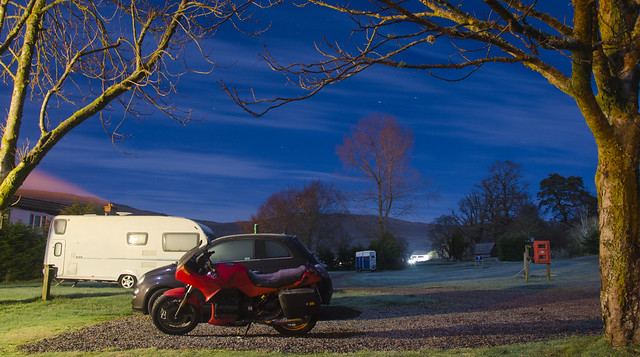 A cold K75s at Sunart Camping, Strontian.