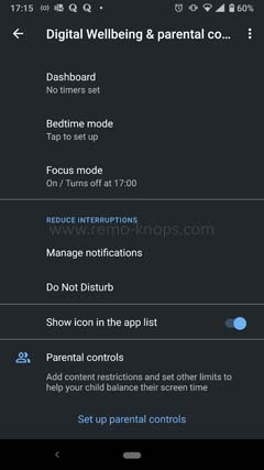 Focus Mode Android 10 - Managing distractions 171515