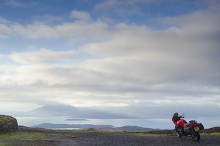 BMW K75s at the top of the Bealach Na Ba overlooking Skye and Raasay. | by yodagoat