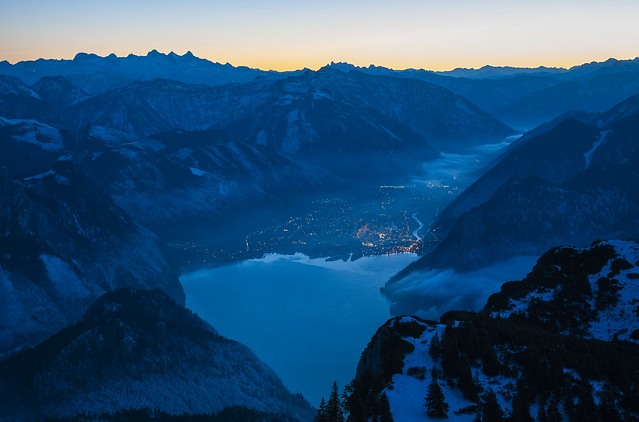 The night is falling on Traunsee