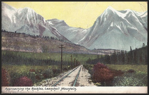 "c. 1906 Hibben & Company (No. 47) Postcard - View of the Canadian Pacific Railway Track ""Approaching the Rockies, Leanchoil Mountain"" near Field, British Columbia"