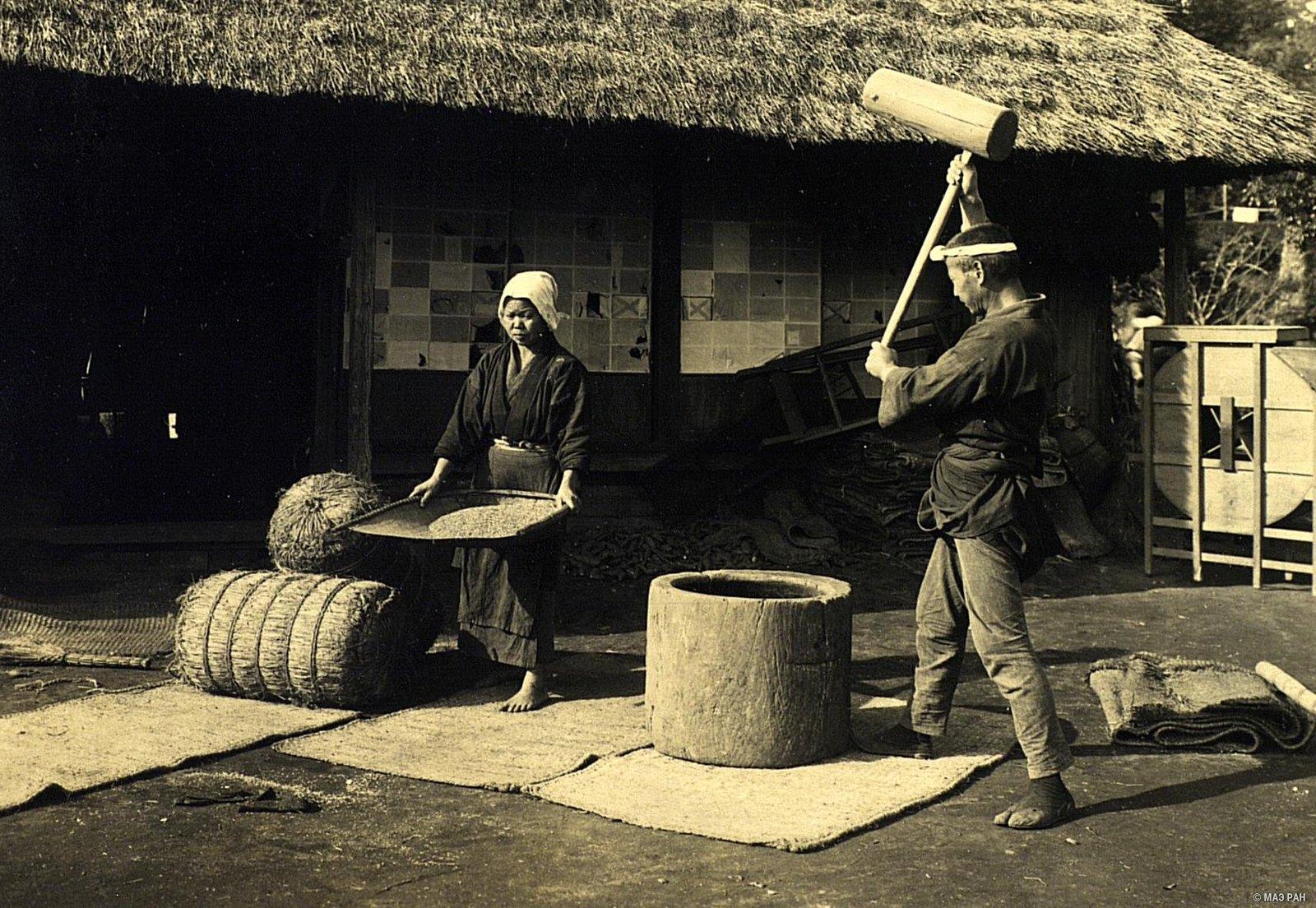 11. Просеивание риса при помощи совка и толчение зерен в деревянной ступе