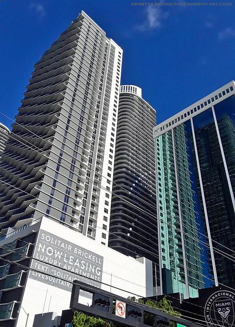 Crowded Brickell Avenue, Miami.